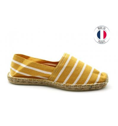 Espadrilles Basque MADE IN FRANCE Rayé Moutarde Blanc
