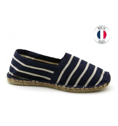 Espadrilles Basque MADE IN FRANCE Marine Blanc