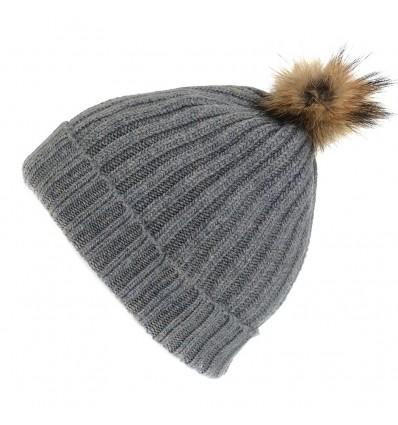 Bonnet blanc en laine - Pompon Fauve