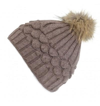 003L - Bonnet en laine marronà motifs et pompon