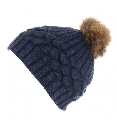 Bonnet en laine gris à motifs et pompon